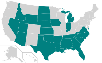 Right-to-work (mandatory open shop) states, 2013