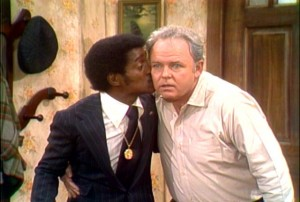 In a cameo appearance, Sammy Davis, Jr. kisses Archie Bunker, (Carol O'Conner).