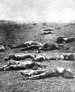 Union dead after the first day of battle, July 1, 1863.