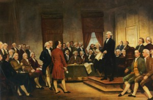 Junius Brutus Stearns 1856 painting of George Washington presiding at the 1787 Constitutional Convention.