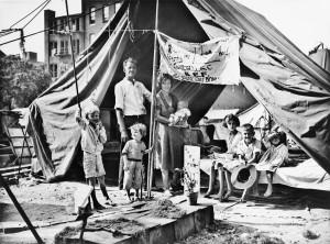 Homeless, unemployed World War veterans were joined by their families at Anacostia Flats.