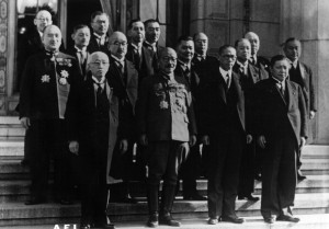 Army General and Japanese Prime Minister Hideki Tojo poses with his cabinet. While prime minister, Tojo also held various other ministerial positions.