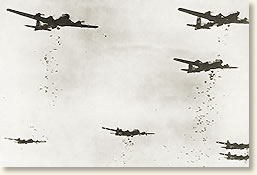 B-29 Superfortress bombers drop incendiary bombs over Tokyo. March 1945