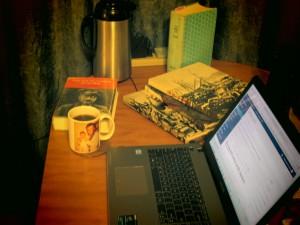 Plenty of reading and plenty of coffee.
