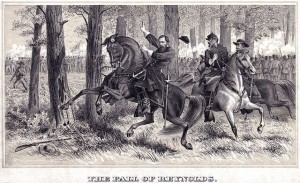 """""""The Fall of Reynolds"""", by Alfred Rudolph Waud. General Reynolds was directing the Iron Brigade early on the first day of battle."""