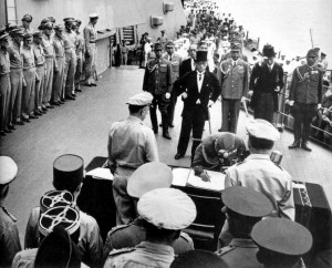 Ordered by the Showa to sign the instrument of surrender on behalf of the Japanese armed forces, General Yoshijiro Umezu dutifully obeys on 2 September 1945. Earlier the Emperor had ordered the general not to commit suicide.