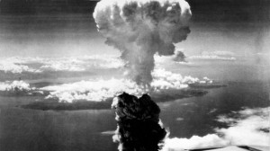 This image of the now-familiar mushroom cloud was taken by the B-29 observation plane that accompanied Bock's Car on the 9 August Nagasaki mission.
